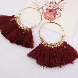 Jewelry - NEW COLOR! Long Tassel Fringe Boho Earrings WINE